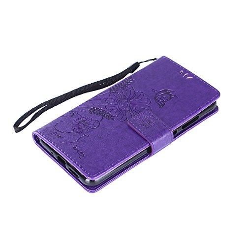 Hülle für Huawei P10 Lite, Tasche für Huawei P10 Lite, Case Cover für Huawei P10 Lite, ISAKEN Blume Schmetterling Muster Folio PU Leder Flip Cover Brieftasche Geldbörse Wallet Case Ledertasche Handyhü Sonnenblume Schmetterling Violett