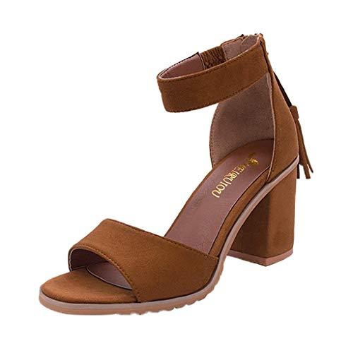 REALIKE Damen Spitze High Heels Sandalen Elegant Reißverschluss Quaste Einfarbig Plateau Wedge Schuhe Knöchel Schnalle Peep Toe Sommerschuhe Business Dünne Fersen Frauen Bequem Touch