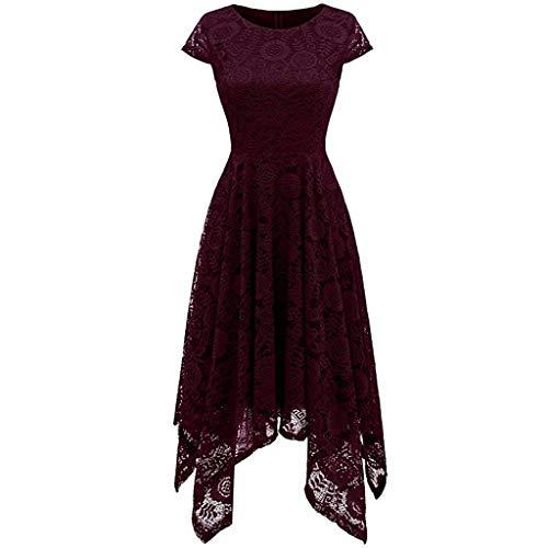 MAYOGO Vintage Elegant Kleid aus Spitze Damen Unregelmässig Vokuhila Kleid Vorne Kurz Hinten Lang,Kleid zur Hochzeit Gast/Brautjungfer,Langarm | Kurzarm | Ohne ärmel (Peach Plus Größe Prinzessin)