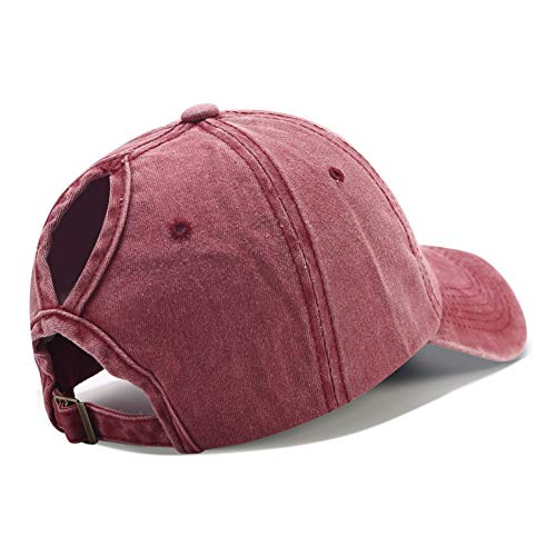 JJJRMP Baseballmütze Messy Bun Hüte Für Frauen Gewaschener Baumwolle Snapback Beiläufige Sommer-Sonnenblende Weiblichen Im Freien Sport-Hut (Tourist Kostüm Weiblich)