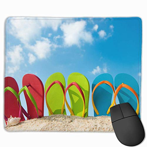 ASKSSD Mouse Pad Summer Beach Flip Flops Rectangle Non-Slip 9.8in11.8 in Personalized Designs Gaming Rubber Mousepad Stitched Edges Mouse Mat Flip-flop-mat