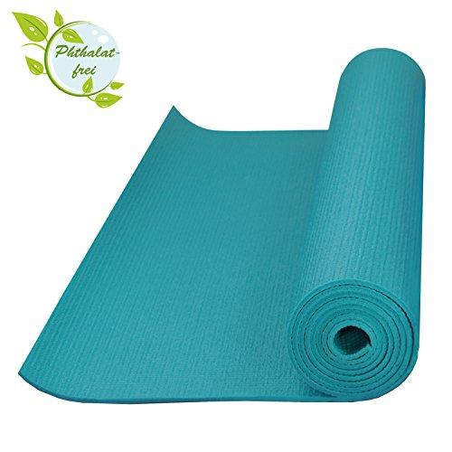 BB SPORT Yogamatte 183 x 61 x 0,4 cm Pilatesmatte in vielen Farben Rutschfest phthalatfrei Gymnastikmatte Turnmatte Sportmatte Fitnessmatte, Farbe:Fresh Turquoise