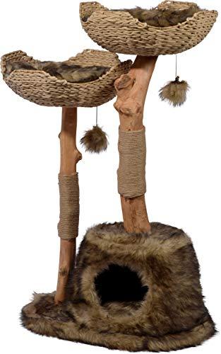 dobar 35285fsce Design-Kratzbaum Tony Mit Naturstämmen Und Spielball, Katzenmöbel Mit Katzenhöhle Und Zwei Liegeflächen, 60 X 45 X 111 cm, braun (Kratzbaum Holz)