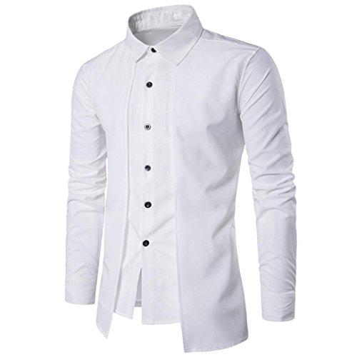 Tefamore Hommes Chemise décontractée Manches Longues Formel Business Slim Dress Chemise T-Shirt Top (XL, Noir)