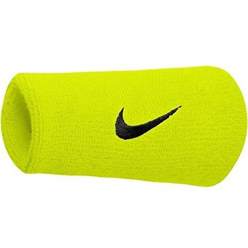 Nike Swoosh Wristbands Doublewide Polsino Tennis, Giallo Fluo/Nero