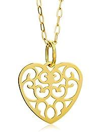 Miore Damen-Halskette mit Anhänger Herz 9 Karat 375 Gelbgold 45cm