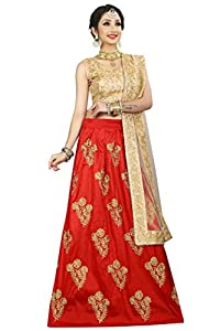 GOYANI ENTERPRISE Women's Crepe Semi Stitched Embroidered Lehenga Cholib (L-0016, Red, Crepe)