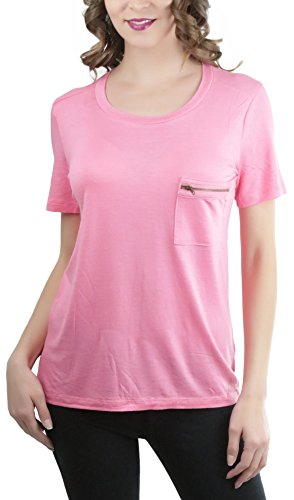 ToBeInStyle Women's Zipper Pocket Scoop Neck S.S. Tee - Coral B - Small