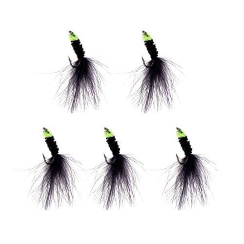 Unbekannt MagiDeal 5 Stück Schwarz Fischhaken Köder für Hecht Barsch Zander Angeln, Fliegenfischen (Fliegenfischen Barsch)