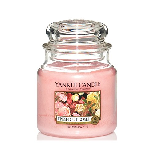Yankee Candle Glaskerze, mittel, Fresh Cut Roses