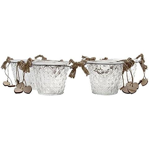 Secchiello in vetro trasparente per candele, Vetro, Clear