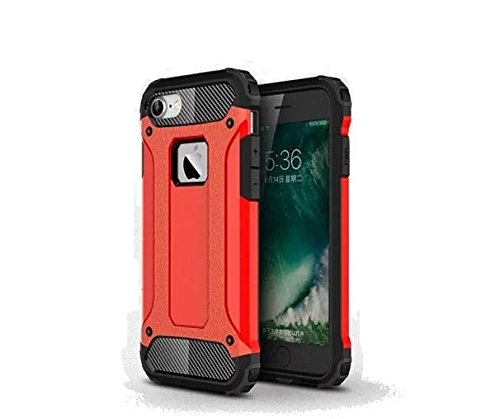 iPhone 7 Coque,Lantier Hybrid PC double couche+TPU Anti-Drop antichoc Cool design Etui rigide robuste robuste Lumière mince Armure pour Apple iPhone 7 (4,7 pouces) Silver Red