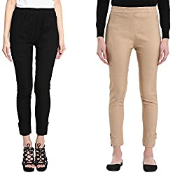 Broadstar Black & Skin Lam Lam Solid Palazzo Pant For Women- Pack Of 2