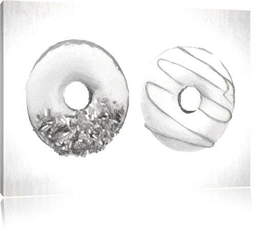 Lustrate Donuts effetto disegno a carboncino, formato: 120x80 su tela, XXL enormi immagini completamente Pagina (Fragola Caffè Aromatizzato)