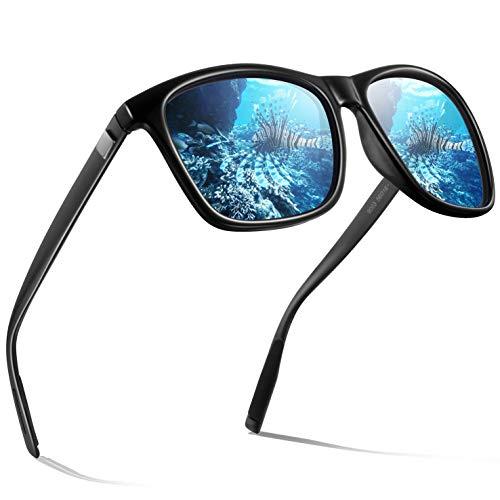 Männer Polarisierte Sonnenbrille Herren-WearPro Sonnenbrille für Männer HD Objektiv Metallrahmen Herren Sonnenbrille WP 2003(Schwarz Blau)
