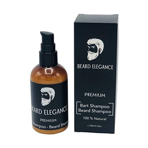 BEARD ELEGANCE Bart Shampoo - Premium Bartshampoo Bio & Vegan - Reinigung Und Pflege Für Jeden Bart-Typ Von Der Wurzel Bis In Die Spitze - Anti-Schuppen & Anti-Juckreiz - 120ml -