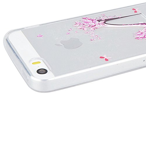 Custodia per iPhone 5/5S/SE , GrandEver TPU Flessibile Ultra Sottile Gel Silicone Anti Scivolo Anti-urto Protettiva Bumper Cover Case - Tacchi Alti Tacchi Alti