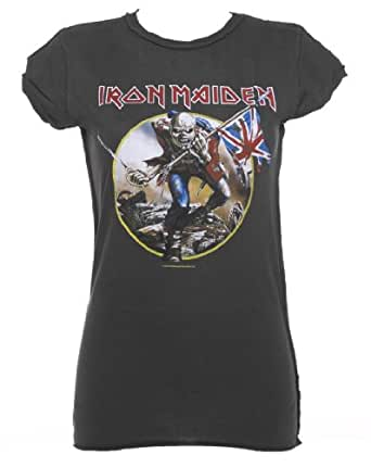 Womens Charcoal Iron Maiden Trooper T Shirt from Amplified