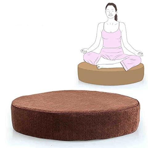 uus Runde Memory Foam Kissen Yoga Mat Kissen Dicker abnehmbare Kissen reine Farbe mit abnehmbare Abdeckung Indoor Sitzpolster ( Farbe : Braun )