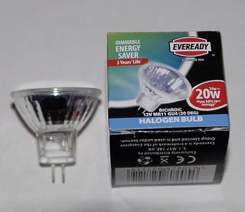 4 Pack. Energy saving MR11 light bulbs. 2 pin 12 volt GU4 Eveready brand Halogen 12v 20 watt lamps.