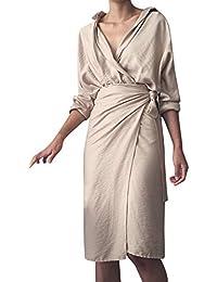 ca57ac7674db38 Hffan Damen Elegant Modisch Unregelmäßig Kleider Slim Fit Hemdkleid  Freizeit Kleid Komfortabel Atmungsaktiv Leinen Langarm Knielang