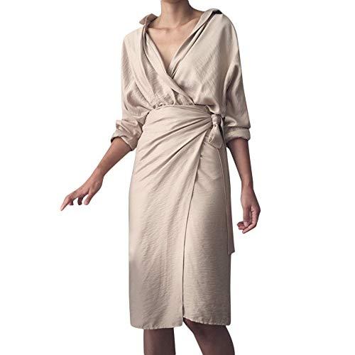 HuaMore Womens Dress Casual Solid V-Ausschnitt Unregelmäßige Leinen Langarm Kleider Bandage Kimono...