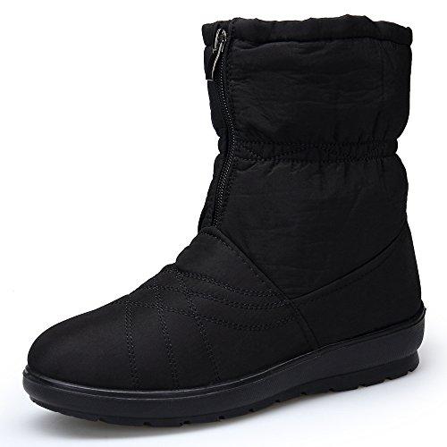 KOUDYEN Zapatos Botas Invierno Mujer de Nieve Botines Plano Fur Caliente al aire libre Anti Deslizante Botas Boots,XZ020-black2-EU40.5