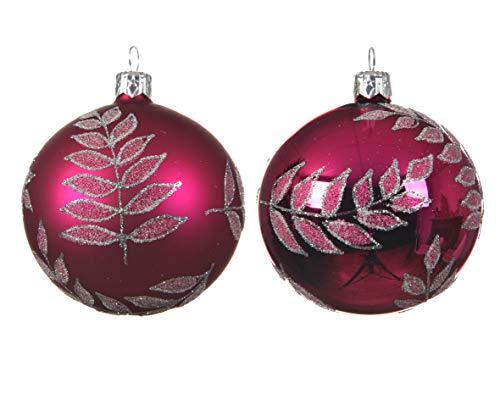 Kaeming Christbaumkugeln aus glänzendem und mattiertem Glas, 8 cm, Rosa -