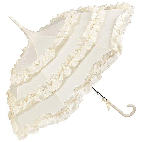 Hochzeit Bräutigam Kostüm - VON LILIENFELD Regenschirm Damen Sonnenschirm Brautschirm Hochzeitsschirm Pagode Automatik Rüsche Lilly creme