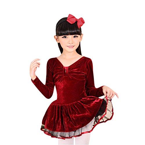 H:oter® Winter-Dull Red Plüsch Bow Design-Ballettröckchen-Kleid, Größe 5-8 Für Mädchen - 8