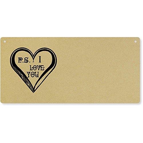 Azeeda 'P.S. I Love You' Groß Holzwand Plakette / Türschild (DP00016256)