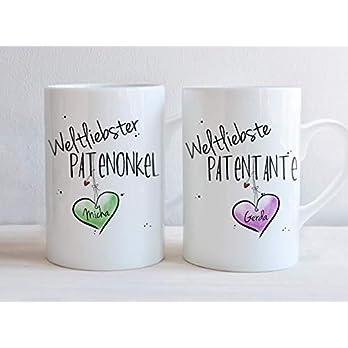 Weltliebste PATENTANTE & PATENONKEL – Tassen Set ODER einzeln – individuell, personalisierbar, Geschenk, Taufpaten, Patenkind, Taufe