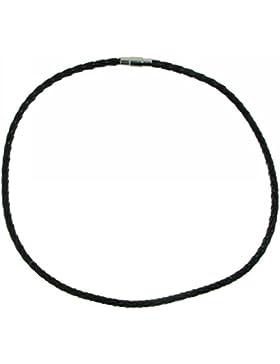 Derby Collier aus echtem Leder geflochten schwarz 4 mm Edelstahl