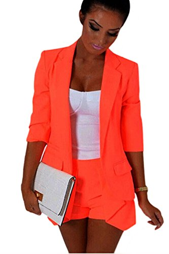 Frauen Ist Elegant, 3 / 4 - Ärmel Bodycon Blazer Anzug Outwear Jacke. Orange L