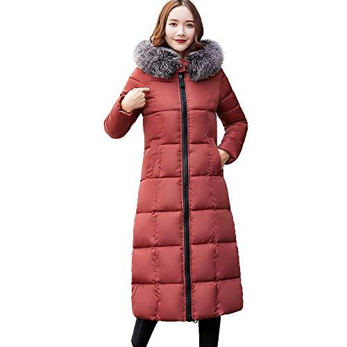Frau Oberbekleidung Baumwolle gepolstert Jacken, Quaan Tasche Pelz mit Kapuze Lange Mäntel