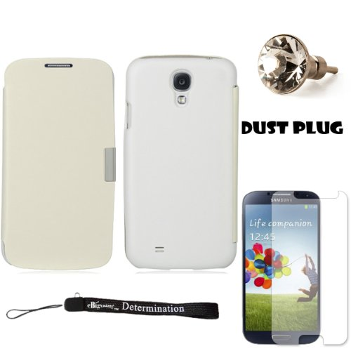 White Secure Flip Case For Samsung Galaxy S4 Android Smartphone 4G LTE (Jelly Bean) + Silver Swarovski Crystal Headphone Jack Dust Plug + Samsung Galaxy S4 Screen Guard Protector + an eBigValue TM Determination Hand Strap