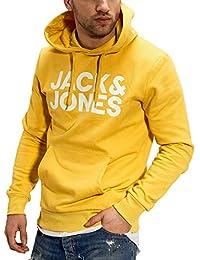 JACK & JONES Felpa con Cappuccio da Uomo JJECORP con Logo Sweat Hood Noos, Uomo, Giallo - Bianco, M