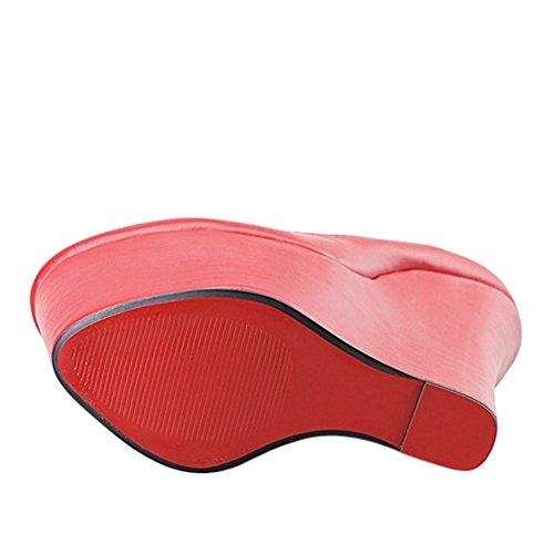 OCHENTA Femme Escarpin Chaussures Talon Compense Platforme Epais Pointure Grande Sexy Rouge