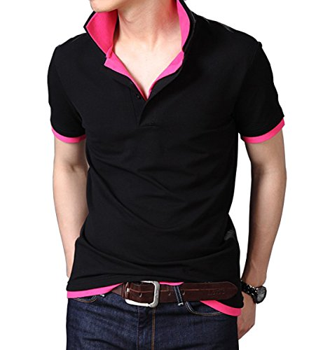 Fanideaz Branded Men's Double Collar Premium Polo Tees M Pink and Black