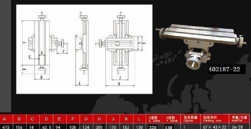 40218722 Kreuz Fräsmaschine Verbindung 2 Achse 4 Ways Arbeitstisch 475x155mm