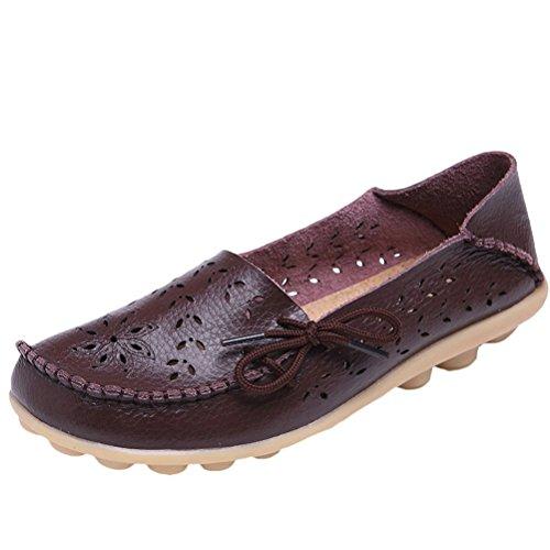MatchLife Damen Vintage Leder Flach Pumpe Casual Schuhe, Kaffee-Art 2, EU40/CH41