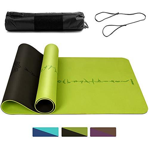 DAWAY Umweltfreundliche TPE Yogamatte - Y9 Breite Dicke Trainingsmatte, rutschfeste Pilates Matten, Doppelseitiges Körperausrichtungssystem, SGS Zertifiziert, 183 x 66 x 0,6 cm, 1 Jahr Garantie