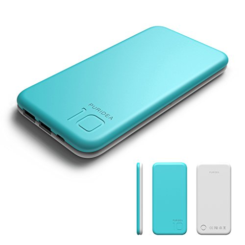 Puridea S2 Blu Power Bank 10000mAh,Caricabatterie Portatile Doppia Porta USB (3A Ingresso Li-polimero) Batteria Esterna Cellulare Per IPhone 7 6 Samsung Galaxy S8 etc