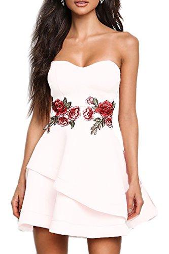 Sans manches Sweetheart femmes brodé robe de partie irrégulière Swing white