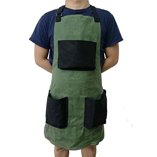 Hanshi multi-usages Outil de toile cirée Tablier Heavy Duty Tablier d'atelier avec 3 poches, étanche poterie Tablier Bavoir tablier de cuisine pour jardinage Hsw-118