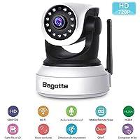 Caméra IP WiFi ,Caméra Surveillance WiFi ,Bagotte HD 720P Caméra de Sécurité Sans Fil Vision nocturne infrarouge / Détection de Mouvement avec microphone et haut-parleur intégré pour une meilleure sécurité à la Maison/Bébé/Animaux de compagnie .