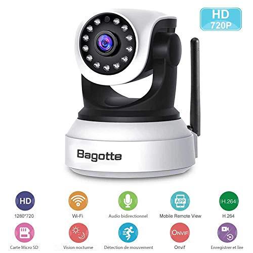 Caméra IP WiFi,Caméra Surveillance WiFi,Bagotte HD 720P Caméra de Sécurité sans Fil avec Vision...