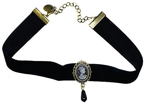 Collier ras du cou Gothique en velours noir Gatsby Vintage Lady Cameo Pendentif Goutte