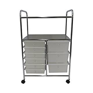 ASPECT 9-Drawer Rolling Cart, Steel/Plastic, White, 63 x 39 x 96.5 cm