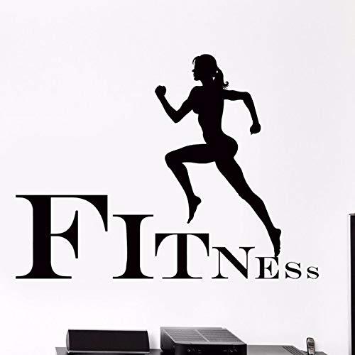 ljmljm Schwarz 57x77cmFITNESS Laufen Fitness kreative Geschnitzte Wandaufkleber können Größe Farbe angepasst Werden